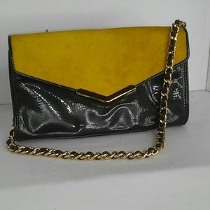 Gianni Bini mustard yellow ponyhair clutch purse